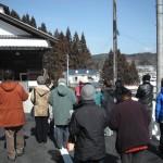 積雪の川内村を一望。の高台に建つ『阿武隈民芸館』