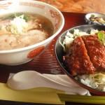 この日の日替わり:喜多方ラーメンとソースカツ丼