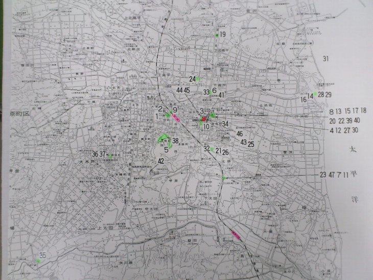 展示パネルの撮影地を記した市内地図