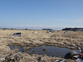 JR桃内駅からすぐには津波被害に遭った車両が