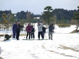 雪の相馬光陽でパークゴルフ