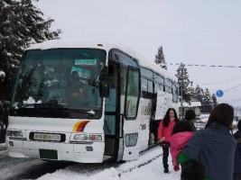 相双には珍しい積雪となった、よつば保育園雪あそび出発の朝