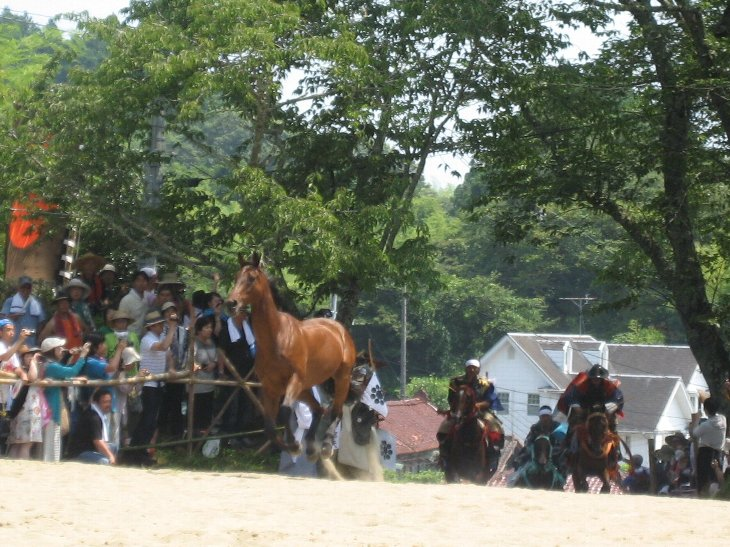 小高神社東参道、裸馬を騎馬武者が追いたてます