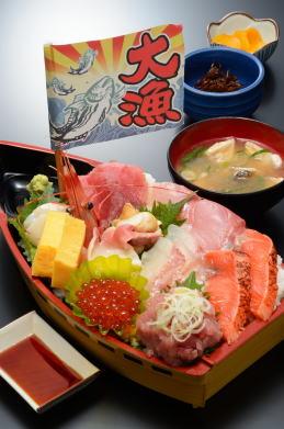 [お食事処 たこ八] 海鮮どんぶり 宝船(1,800円)